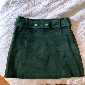 Zara Real Suede Emerald Green Skirt size Small